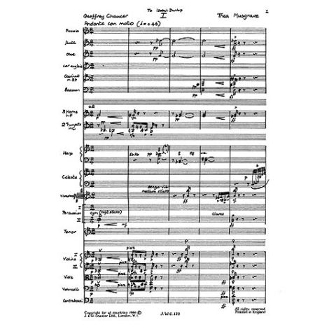Thea Musgrave: Triptych for Tenor and Orchestra (Study Score)