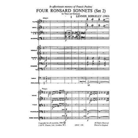 Lennox Berkeley: Four Ronsard Sonnets Op.62 (Miniature Score)