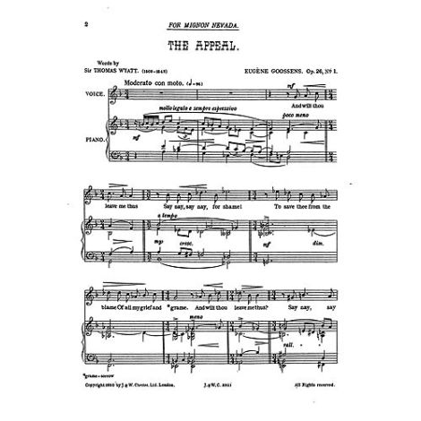 Goossens: The Appeal from 'Three Songs Op.26' for Medium Voice and Piano