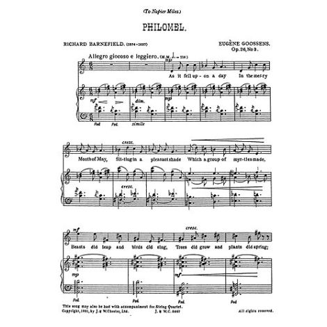 Goossens: Philomel from 'Three Songs Op.26' for Medium Voice and Piano