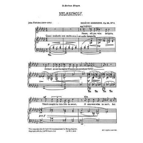 Goossens: Melancholy from 'Three Songs Op.26' for Medium Voice and Piano