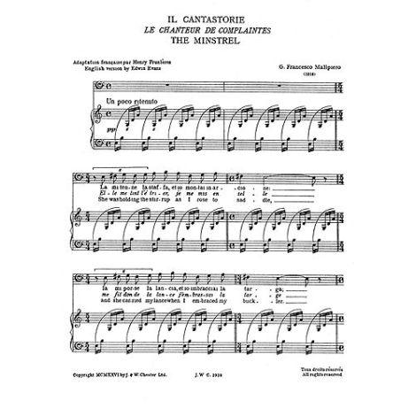 Malipiero: Il Cantastorie Baritone From Sette Canzoni for Baritone Solo with Piano acc.