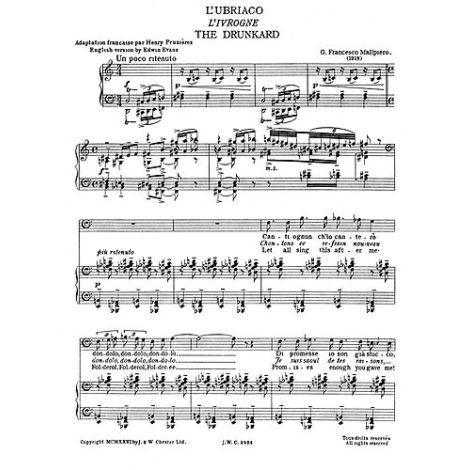 Malipiero: The Drunkard From Sette Canzoni (L'ubriaco)  for Baritone Solo with Piano acc.