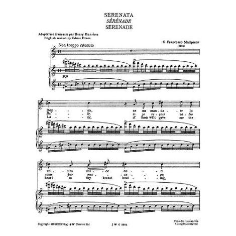 Gian Francesco Malipiero: Serenata From Sette Canzoni For Tenor Solo With Piano Accompaniment