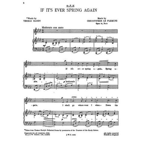 Fleming: If It's Ever Spring Again for Medium Voice and Piano acc.