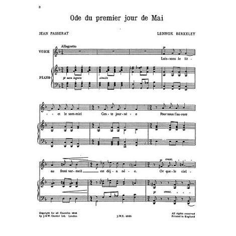 Lennox Berkeley: Ode Du Premier Jour De Mai Op.14 No.2