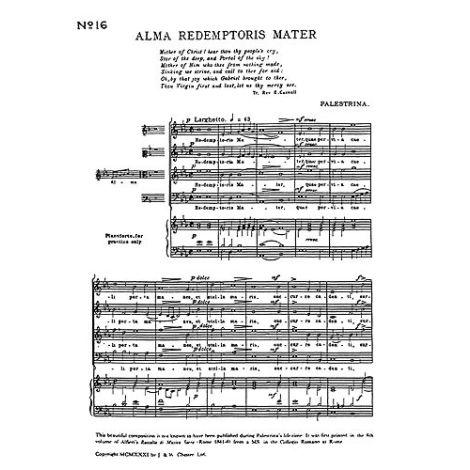Giovanni Palestrina: Alma Redemptoris Mater