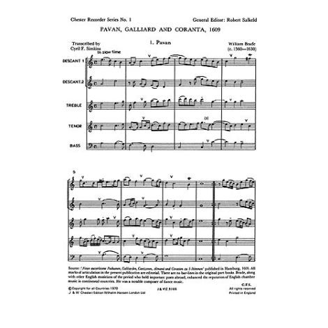 Brade: Pavane, Galliard And Corranta