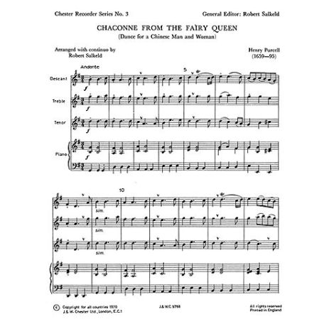 Purcell, H Chaconne From The Fairy Queen Chester Recorder Series No.3