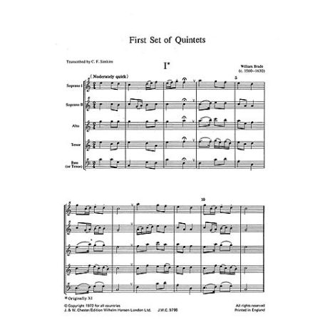 Brade: First Set Of Quintets (Score and Parts)