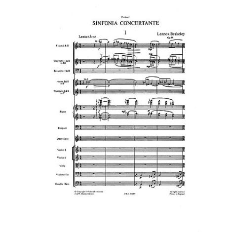 Lennox Berkeley: Sinfonia Concertante Op.84 For Oboe & Chamber Orchestra (Miniature Score)