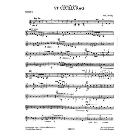 Playstrings Moderately Easy No. 14 St. Cecilia Rag (Wilby)