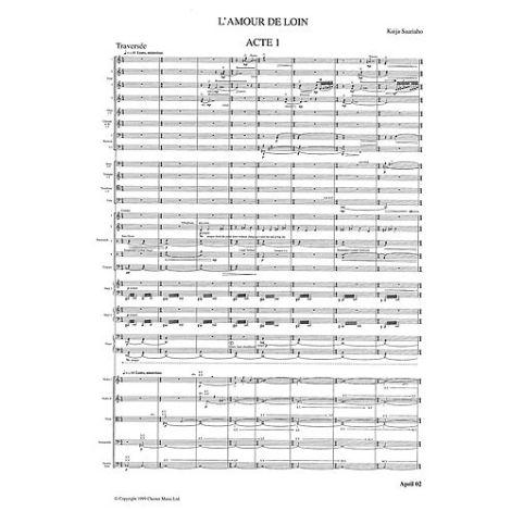 Kaija Saariaho: L'amour De Loin (Full Score)