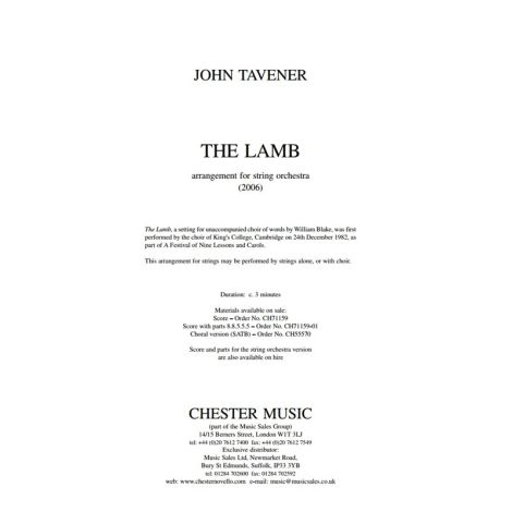 John Tavener: The Lamb - String Orchestra Version (Score And Parts)