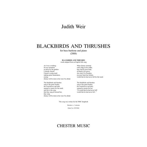 Judith Weir: Blackbirds And Thrushes - Bass-Baritone/Piano