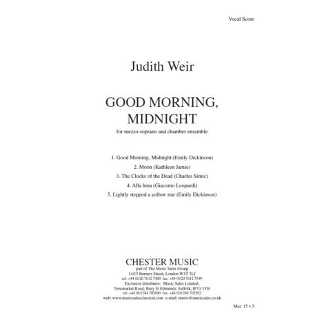 Judith Weir: Good Morning, Midnight (Study Score)
