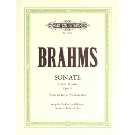 Brahms: Sonata in G Major Op. 78 arr for Viola & Piano (Edition Peters)
