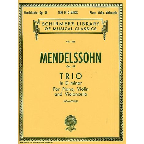 Felix Mendelssohn: Piano Trio No.1 In D Minor Op.49 (Score/Parts)