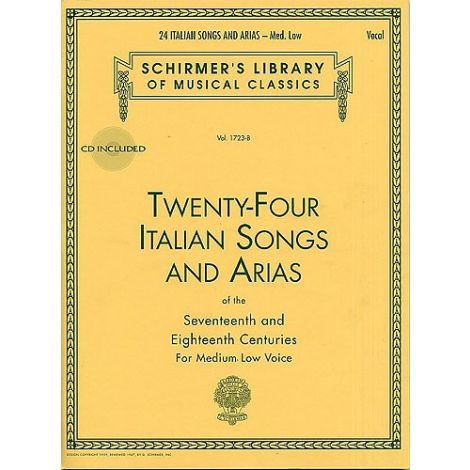 Twenty-Four Italian Songs And Arias Of The 17th And 18th Centuries - Medium Low Voice (Book/Online Audio)