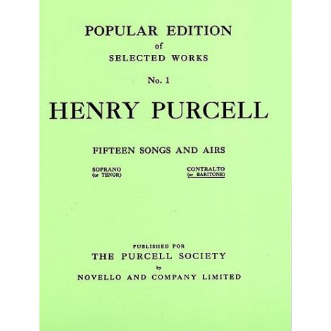 Henry Purcell: Fifteen Songs And Airs Set 1 (Contralto Or Baritone)