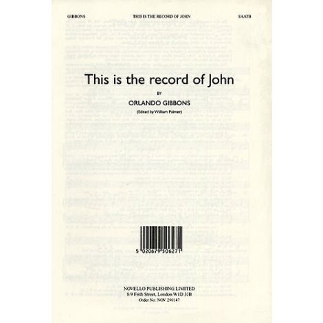 Orlando Gibbons: This Is The Record Of John (Alto Verse)