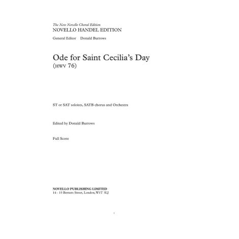 G.F. Handel: Ode For Saint Cecilia's Day - The New Novello Choral Edition