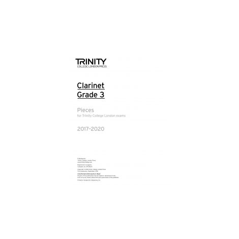 Trinity Clarinet Exams 2017-2020 Grade 3 Part Only