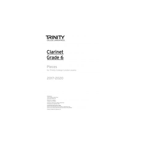Trinity Clarinet Exams 2017-2020 Grade 6 Part Only