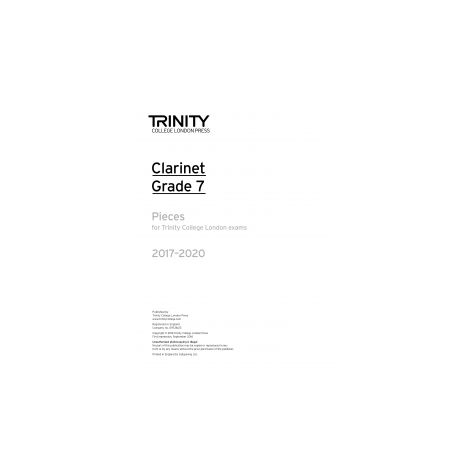 Trinity Clarinet Exams 2017-2020 Grade 7 Part Only