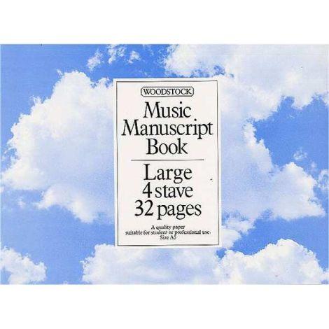 WOODSTOCK MUSIC MANUSCRIPT PAPER  4 STAVE   32 PAGES (A5L)