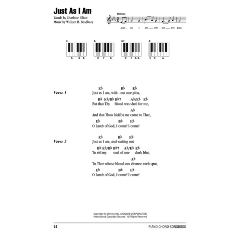 William B. Bradbury: Just As I Am - Lyrics & Piano Chords