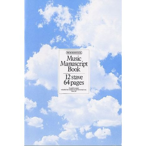 WOODSTOCK MUSIC MANUSCRIPT PAPER  12 STAVE   64 PAGES (A4 STITCHED)